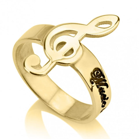 24K Gold Plated Musical Note Name Ring - jeweleen
