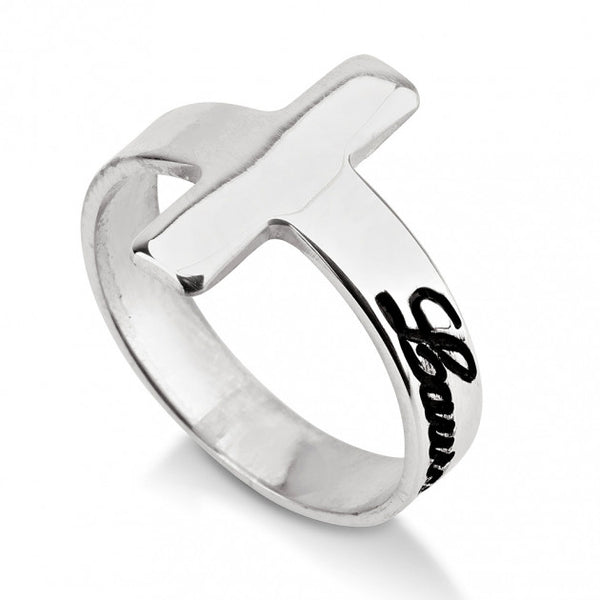 Sterling Silver Cross Name Ring - jeweleen