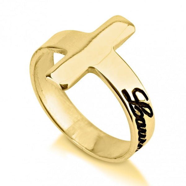 24K Gold Plated Cross Name Ring - jeweleen