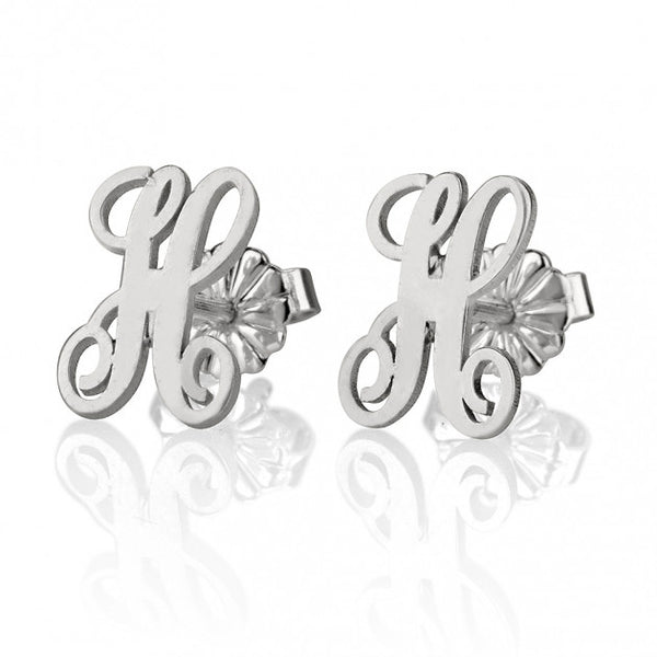 Sterling Silver Stud Curled Letter Earrings - jeweleen