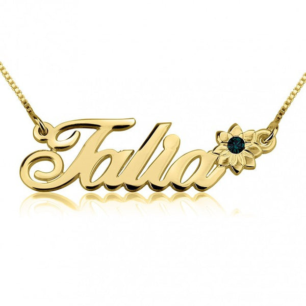 14K Gold Swarovski with Flower Name Necklace - jeweleen - 1