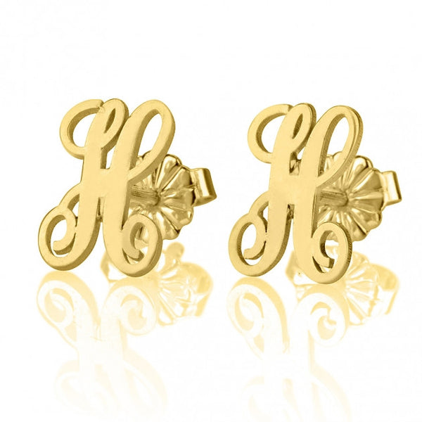 24K Gold Plated Curled Letter Earrings - jeweleen