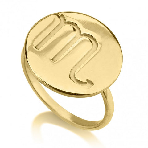 24K Gold Plated Circle One Initial Ring - jeweleen