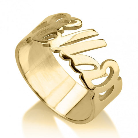 24k Gold Plated Carrie Name Ring - jeweleen