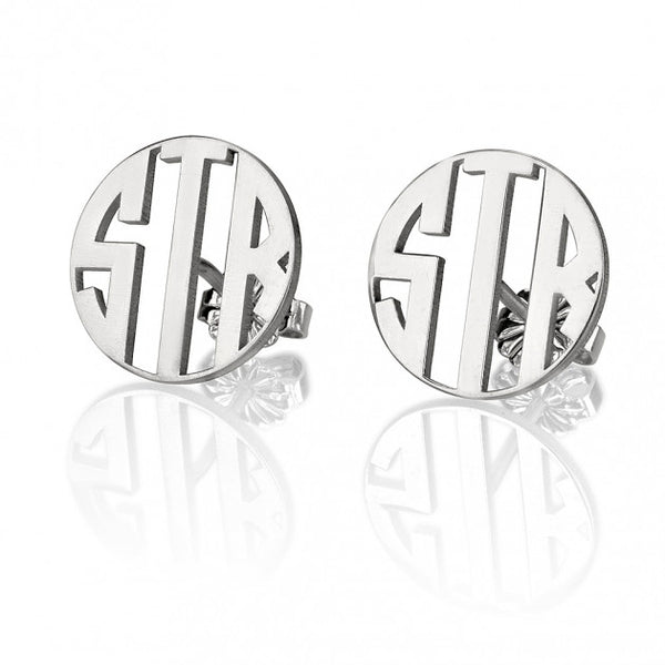 Sterling Silver Stud 3 Letter Capital Border Monogram Earings - jeweleen