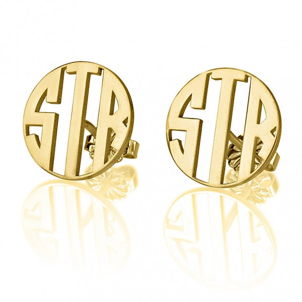 24K Gold Plated Stud 3 Letter Capital Border Monogram Earrings - jeweleen