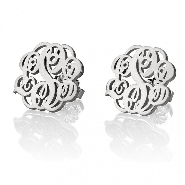 Sterling Silver Stud Monogram Earrings - jeweleen