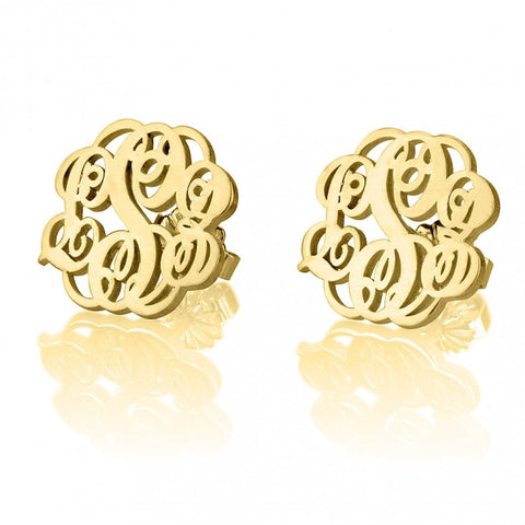 24K Gold Plated Stud Monogram Earrings - jeweleen