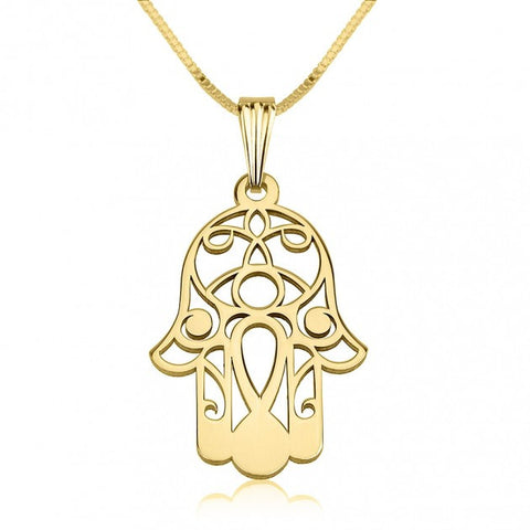 14K Gold Hamsa (Hand of Fatima) Necklace - jeweleen - 1