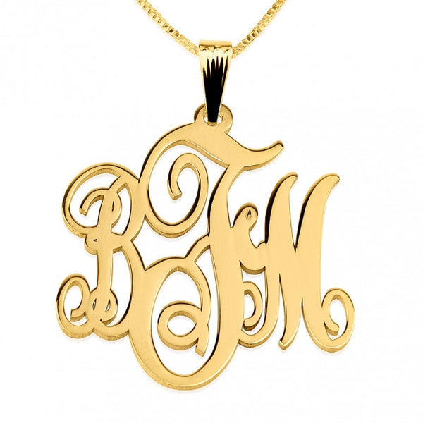 14K Gold Monogram Necklace - jeweleen - 1