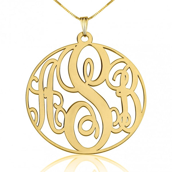 14K Gold Circle Monogram Necklace - jeweleen - 1