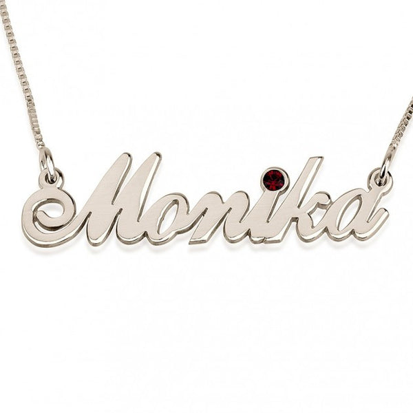 Sterling Silver Swarovski Alegro Name Necklace - jeweleen - 1
