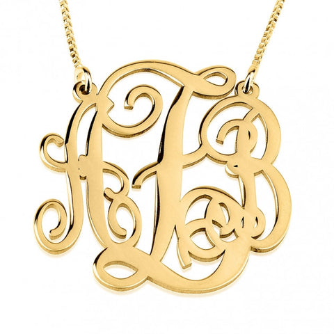 14K Gold Split Chain Monogram Necklace - jeweleen - 1