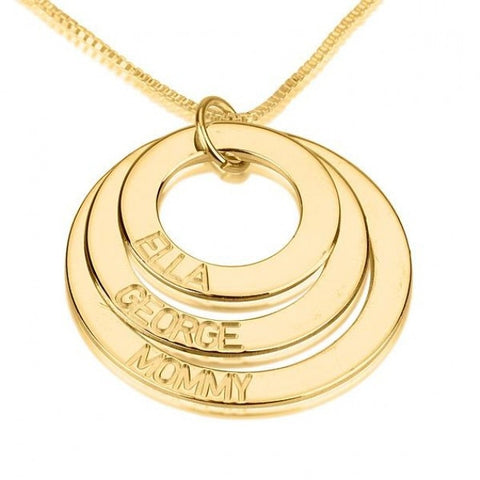 14K Gold Three Ring Engraved Mother Necklace - jeweleen - 1