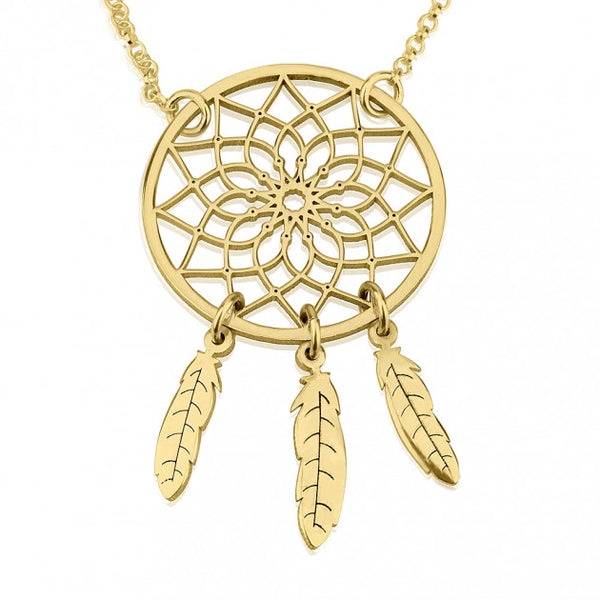 24k Gold Plated Dreamcatcher Necklace - jeweleen - 1