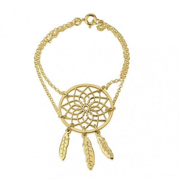 24k Gold Plated Dreamcatcher Bracelet - jeweleen - 1
