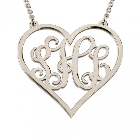 Sterling Silver Heart Monogram Necklace - jeweleen - 1