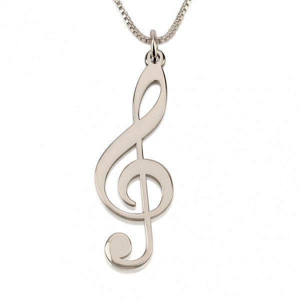 Sterling Silver Musical Sol Note Necklace - jeweleen - 1