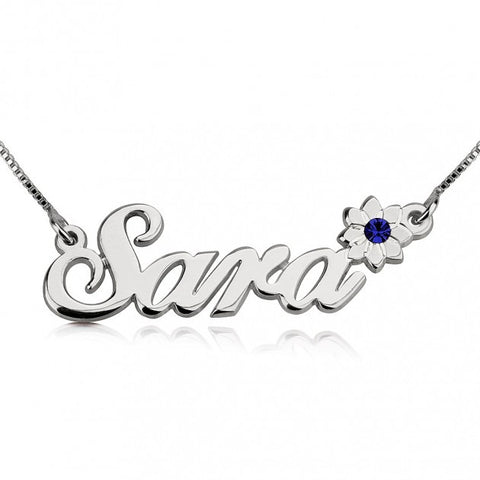 Sterling Silver Swarovski with Flower Name Necklace - jeweleen - 1