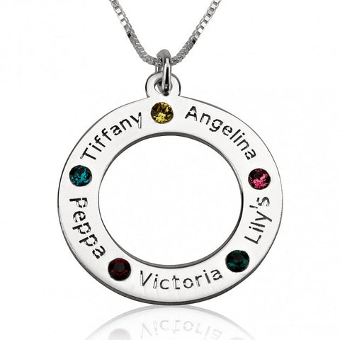 Sterling Silver Engraved Family Name Birthstone Necklace - jeweleen - 1