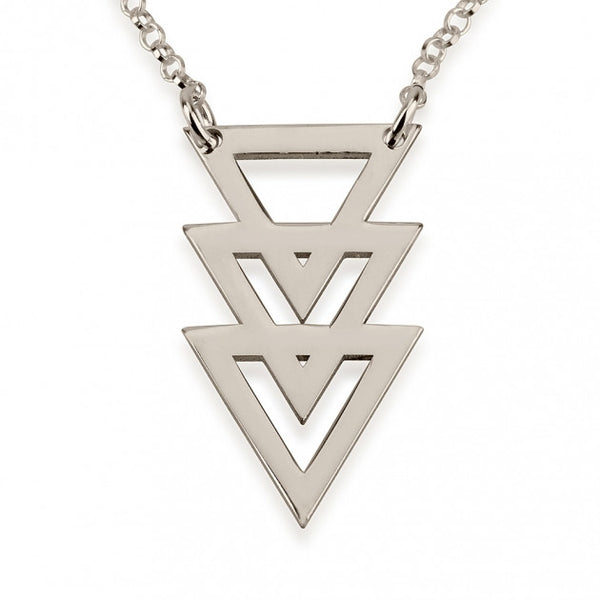 Sterling Silver Triple Stacked Triangle Necklace - jeweleen - 1