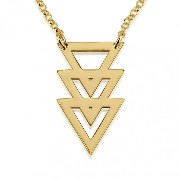 24k Gold Plated Triple Stacked Triangle Necklace - jeweleen - 1