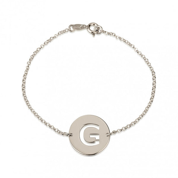 Sterling Silver Cut Out Initial Disc Bracelet - jeweleen - 1