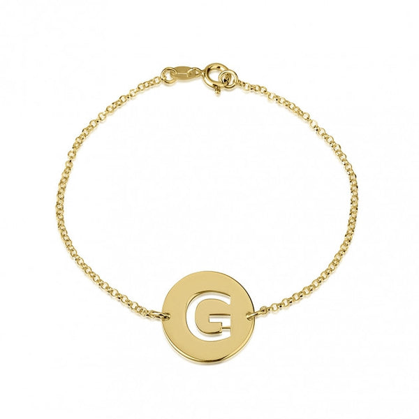 24k Gold Plated Cut Out Initial Disc Bracelet - jeweleen - 1
