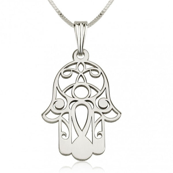 Sterling Silver Hamsa Hand (Hand of Fatima) Necklace - jeweleen - 1