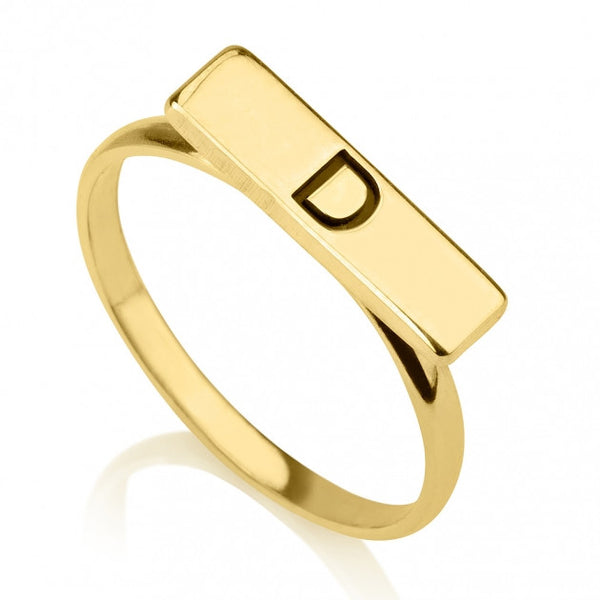 24K Gold Plated Bar Ring - jeweleen
