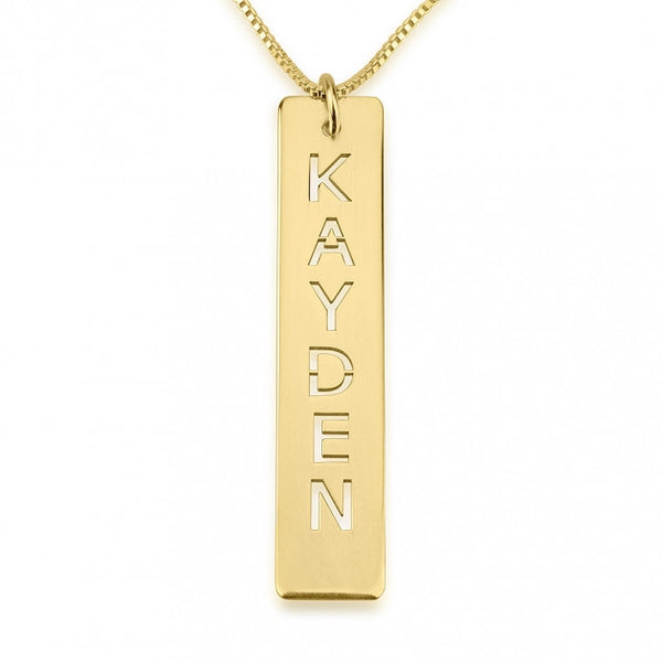 24k Gold Plated Cut Out Vertical Bar Necklace - jeweleen - 1
