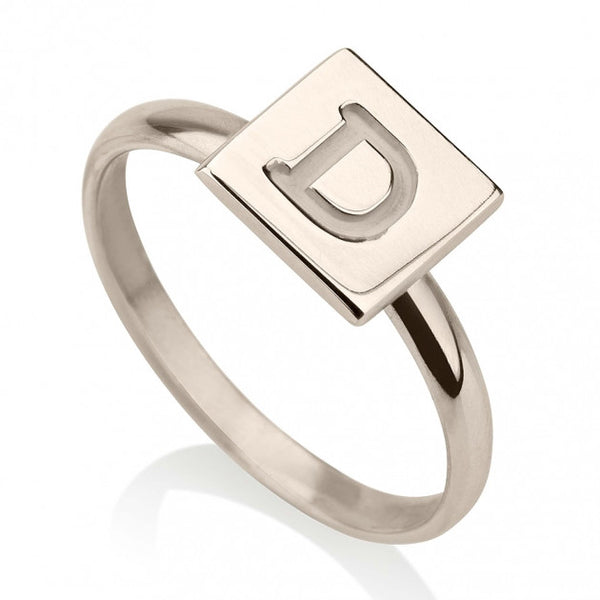 Sterling Silver Initial Cube Ring - jeweleen