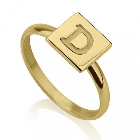 24k Gold Plated Initial Cube Ring - jeweleen