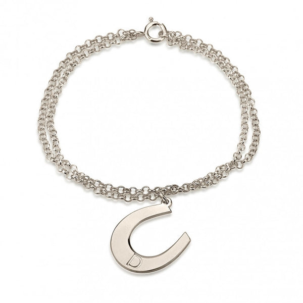 Sterling Silver Initial Horseshoe Bracelet - jeweleen - 1