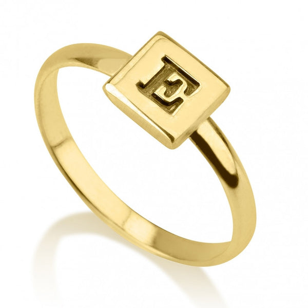 24k Gold Plated Cube Midi Ring - jeweleen
