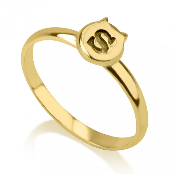 24K Gold Plated Cat Midi Ring - jeweleen