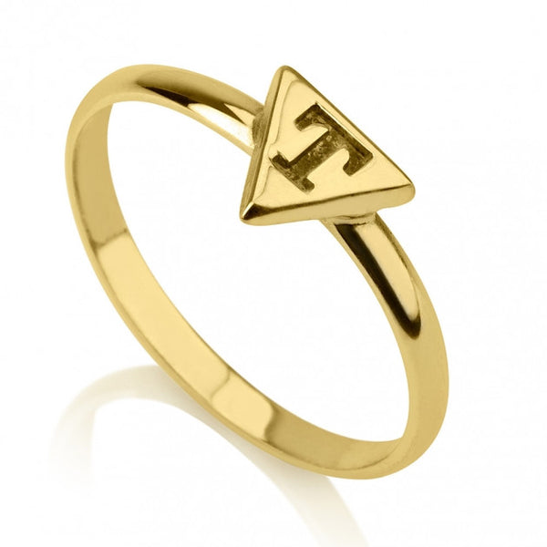24k Gold Plated Triangle Midi Ring - jeweleen