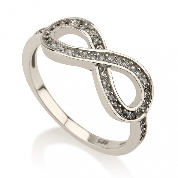 Sterling Silver Cubic Zirconia Infinity Ring - jeweleen