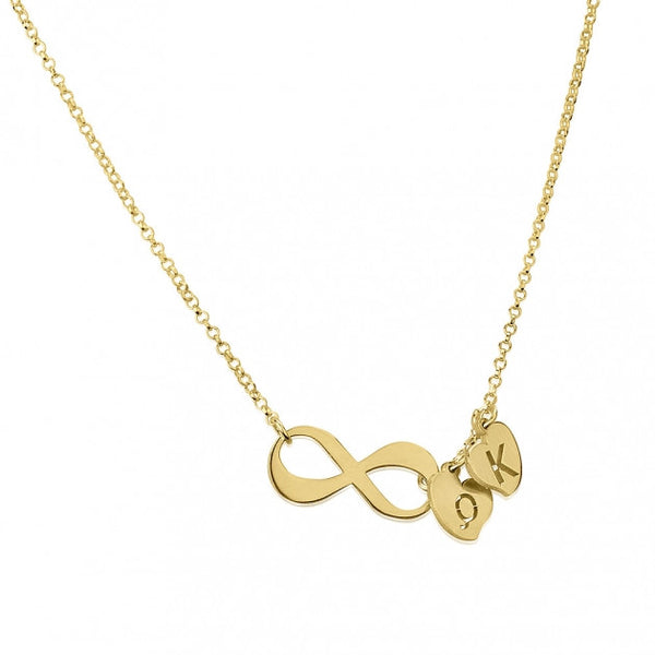 24k Gold Plated Infinity Necklace with Initials - jeweleen - 1