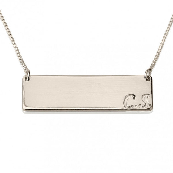 Sterling Silver Horizontal Initials Bar Necklace - jeweleen - 1