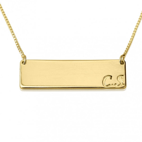 24k Gold Plated Horizontal Initials Bar Necklace - jeweleen - 1