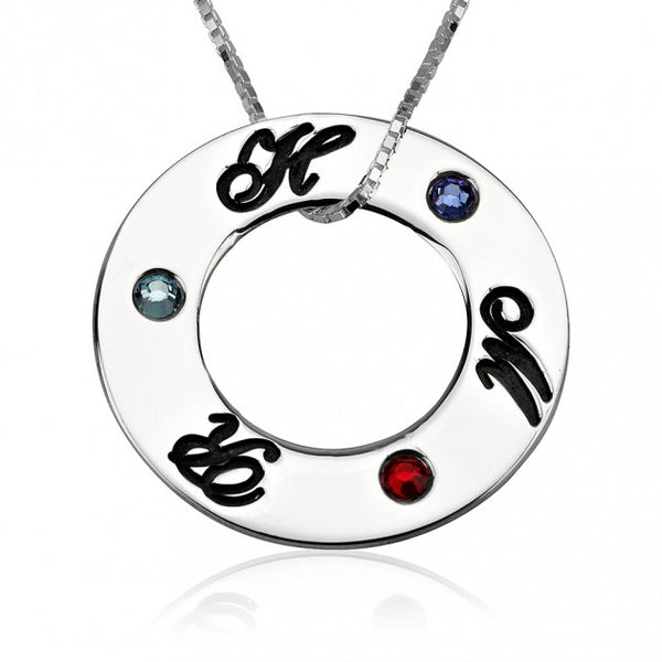 Sterling Silver Engraved Family Initial Birthstone Necklace - jeweleen - 1