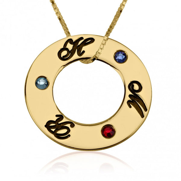 24k Gold Plated Engraved Family Birthstone Necklace - jeweleen - 1