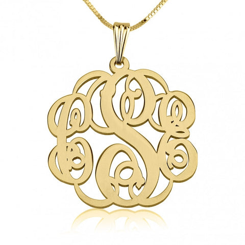 24k Gold Plated Twisted Monogram Necklace - jeweleen - 1