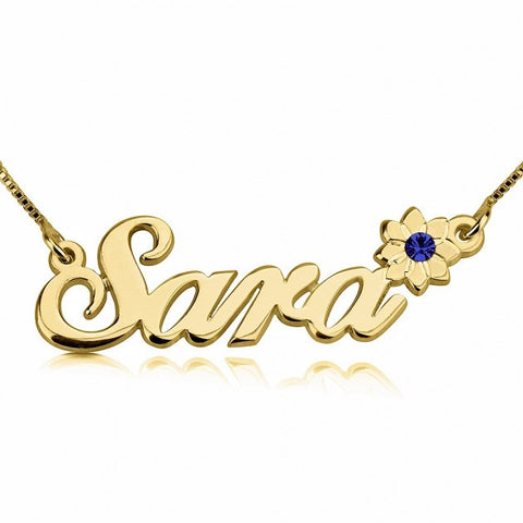 24K Gold Plated Swarovski with Flower Name Necklace - jeweleen - 1