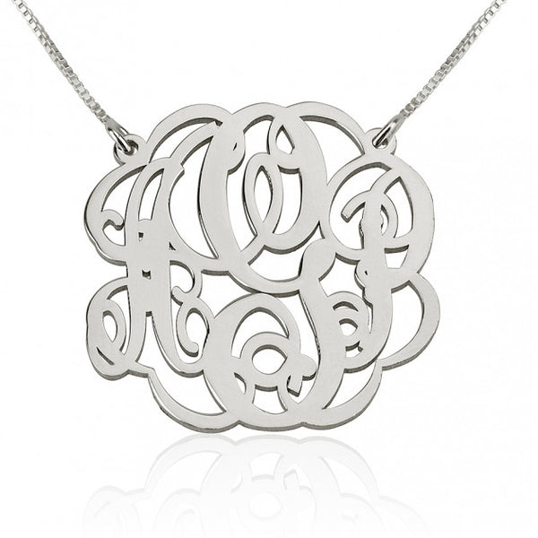 Sterling Silver Twisted  Split Chain Monogram Necklace - jeweleen - 1