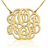 24k Gold Plated Twisted Split Chain Monogram Necklace - jeweleen - 1