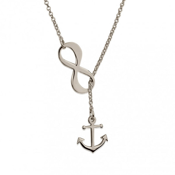Sterling Silver Infinity Anchor Y Shaped Necklace - jeweleen - 1