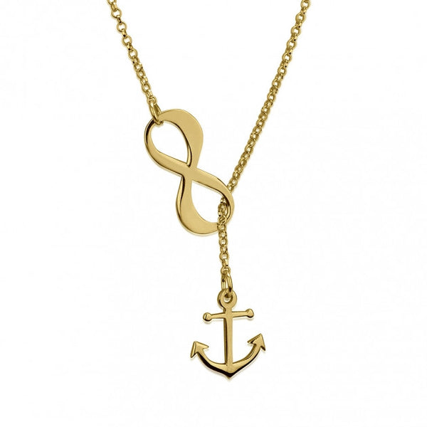 24k Gold Plated Infinity Anchor Y Shaped Necklace - jeweleen - 1