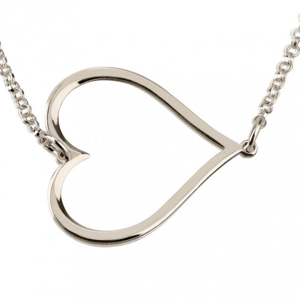 Sterling Silver Sideways Heart Necklace - jeweleen - 1